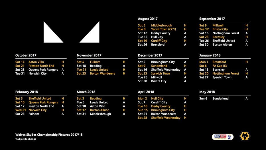 2017/18 Fixtures Released | Wolverhampton Wanderers FC